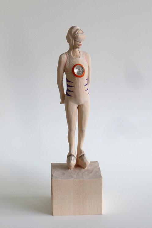 A03 |  Lindenholz, Kompositionssilber, Buntstift | 23,5 cm x 6 cm x 6 cm