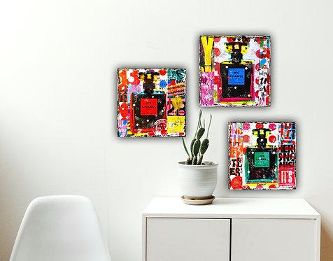 Chanel No 5, 3er-Serie    Pop-Art-Fotokunst, Acryl-Mischtechnik   3 x 20 x 20 cm