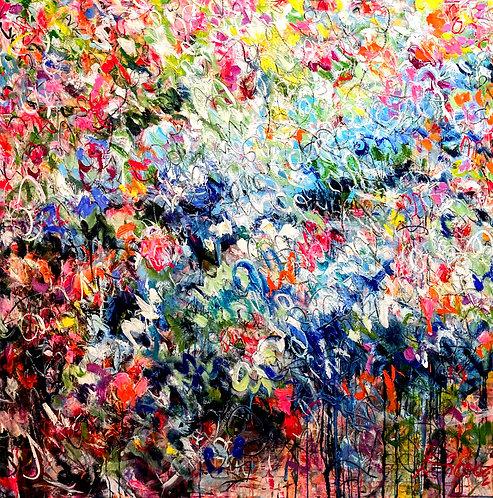 Welcome To My Paradise    Acryl, Öl auf Leinwand   150 x 150 cm