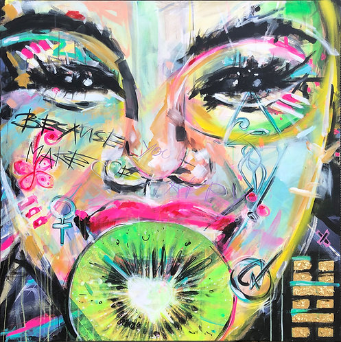 Sweet Smile, Kiwi | Mischtechnik auf Leinwand | 100 x 100 cm