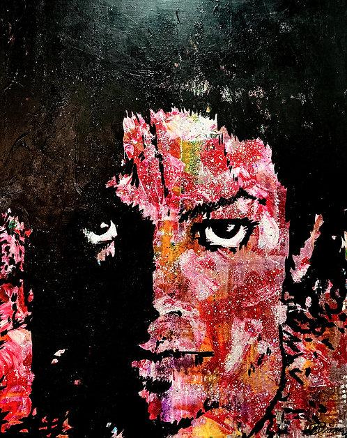 Michael   Acryl, Gesso, Farbstift, Graphit auf Leinwand   100 x 80 cm