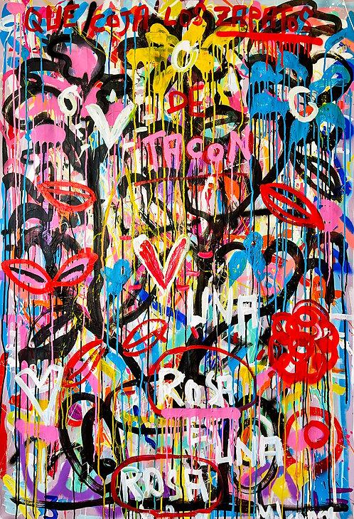 Una Rosa es una Rosa | Acrylic and spray on canvas | 150 x 100 cm