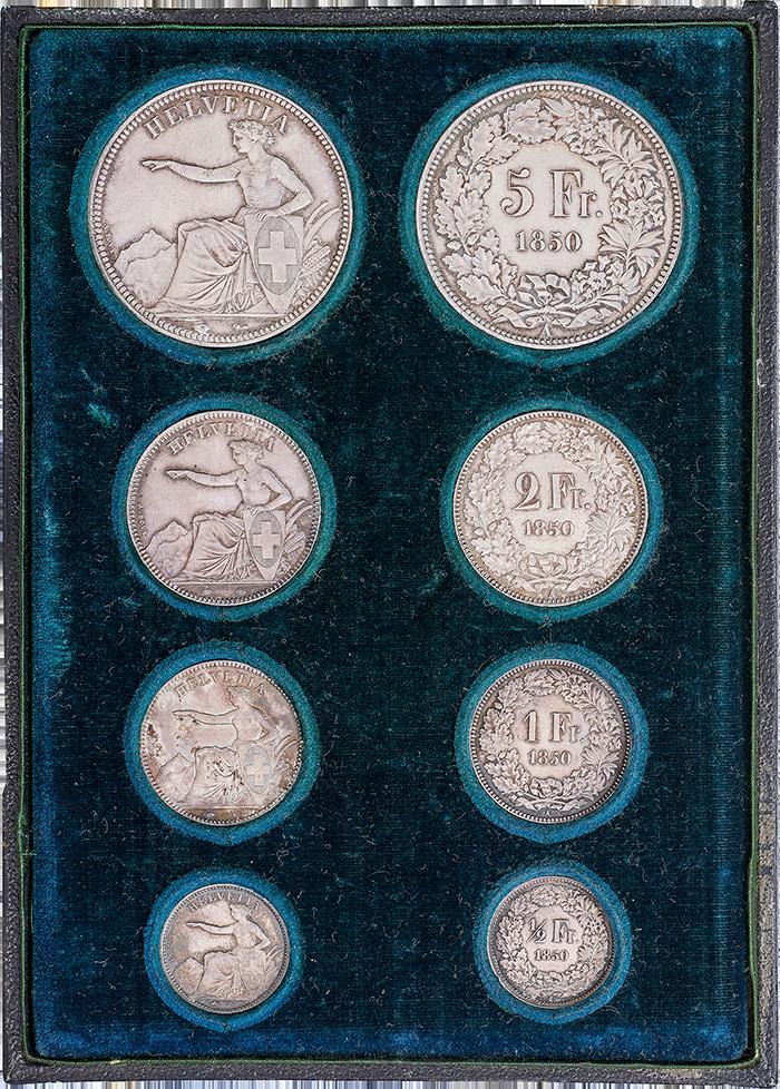 Münzsatz Schweizer Franken von 1850