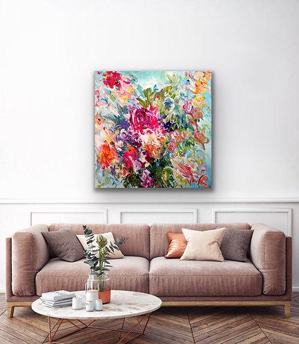 Glücksrauschen |  Acryl, Farbstift auf Leinwand | 100 x 100 cm