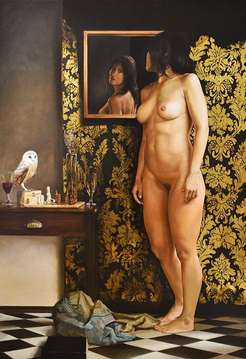 Atenea, antes del amor |  Oil and gold leaf on canvas | 170 x 116 cm