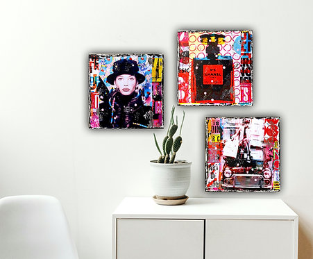 It's all about Chanel | Pop-Art-Fotokunst, Acryl-Mischtechnik | 3 x 20 x 20 cm