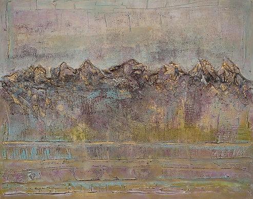 Alpenglueh | Mischtechnik auf Leinwand | 100 x 70 cm