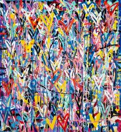 Under Stars | acrylic and spray on canvas | 145 x 135 cm