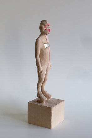 A02 |  Lindenholz, Kompositionssilber, Buntstift | 23,4 cm x 6 cm x 6 cm