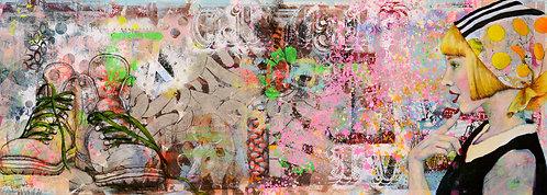 Gipfeltour | Pigment, Öl, Mischtechnik auf Papier | 45 x 116 cm