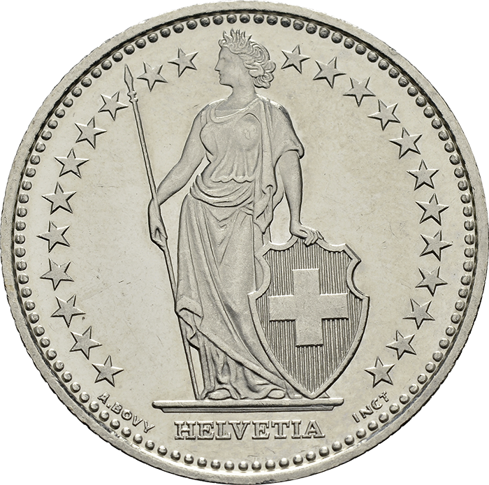 1 Franken 1983, stehende Helvetia
