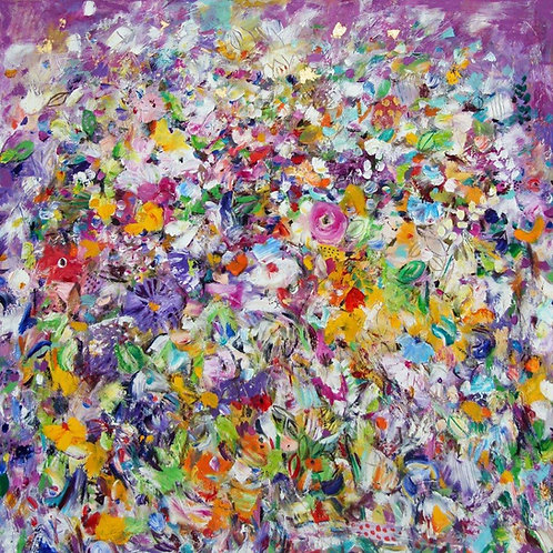 Purple Dance | Öl, 22 Karat Gold, Pigmente | 100 x 100 cm