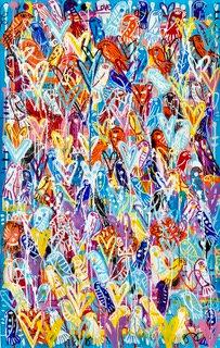 No social distancing for birds III | Acrylic and Spray on Canvas | 147 x 94 cm