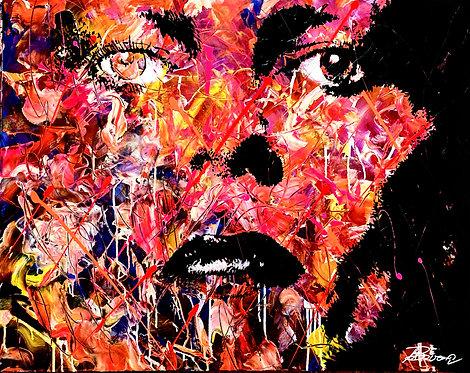 Mick | Acryl, Gesso, Farbstift, Graphit auf Leinwand | 100 x 70 cm