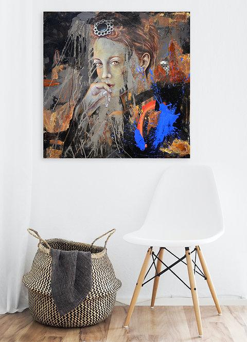 Das Geschenk | Pigment, Öl, Mischtechnik auf Leinwand | 140 x 140 cm