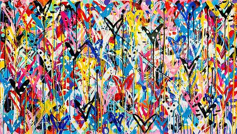 Heaven on Earth | Acrylic and spray paint on canvas | 80 x 145 cm
