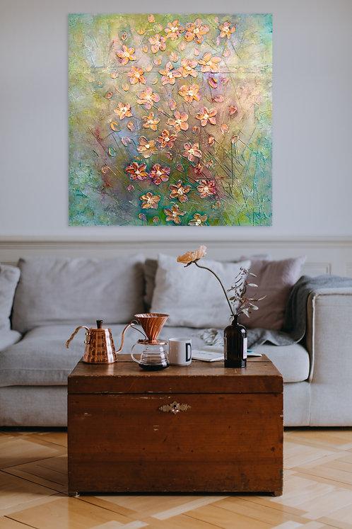 Lebensfreude | Mischtechnik auf Leinwand | 120 x 120 cm