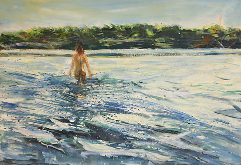 Einen Fluss durchqueren | Öl auf Leinwand | 100 x 70 cm