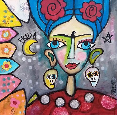 Frida at home | Mixed-Media: Acryl und Collage auf Leinwand | 80 x 80 cm