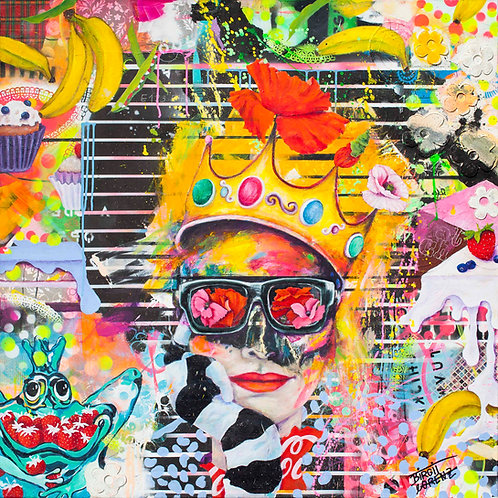 Queen | Pigment, Öl, Mischtechnik auf Leinwand | 100 x 100 cm