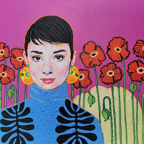 Blossom Audrey | Acrylic Paint on Wooden Canvas | 50 x 50 cm