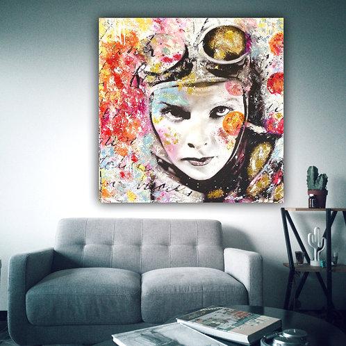 Speed Lady | Pop-Art- / Collagen-Acryl-Technik auf Leinwand | 100 x 100 cm