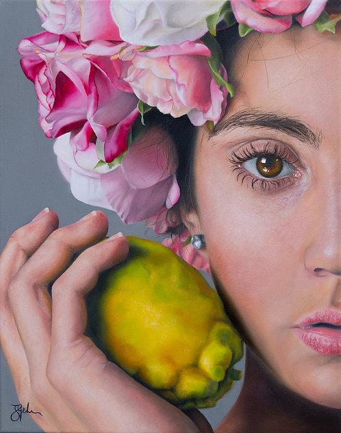The girl with the quince | Öl auf Leinwand | 50 x 40 cm