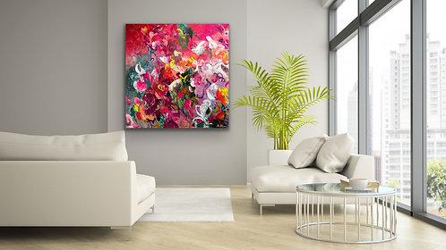 Herzensangelegenheit | Acryl, Farbstift auf Leinwand | 100 x 100 cm