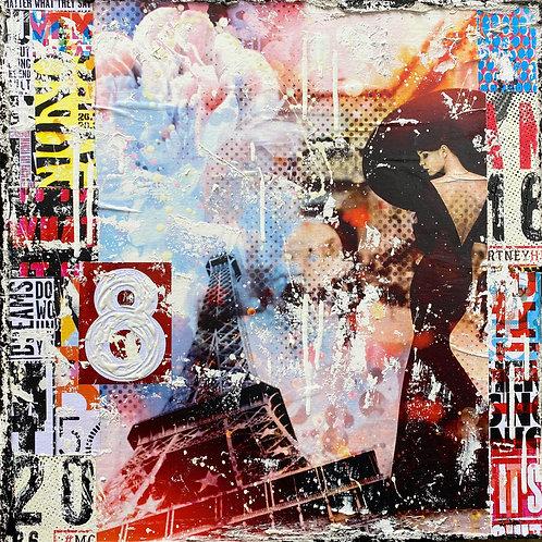 BeTrue2YourselNo6   Pop-Art- und Collagen-Kunst mit Strukturfarbe   40 x 40 cm