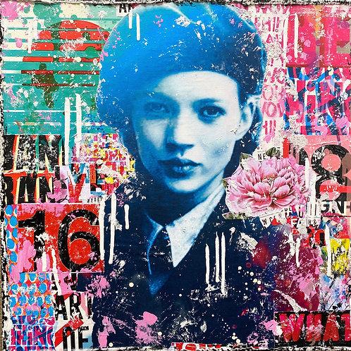 BeTrue2YourselNo2   Pop-Art- und Collagen-Kunst mit Strukturfarbe   40 x 40 cm