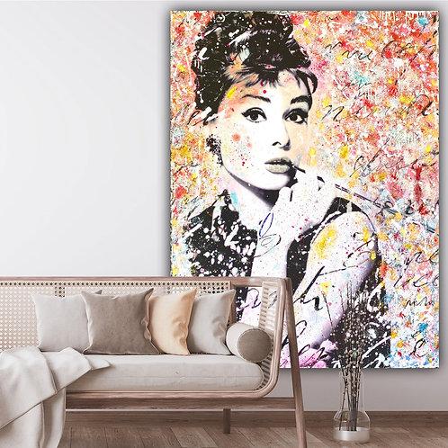 Beautiful Audrey | Pop-Art- /Collagen-Acryl-Technik auf Leinwand | 120 x 160 cm
