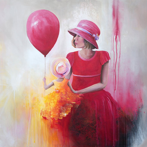 The red balloon | Acrylic Painting | 70 x 70 cm