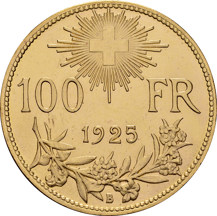 Swiss Confederation. 100 Francs, 192