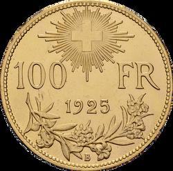 Swiss Confederation. 100 Francs, 192