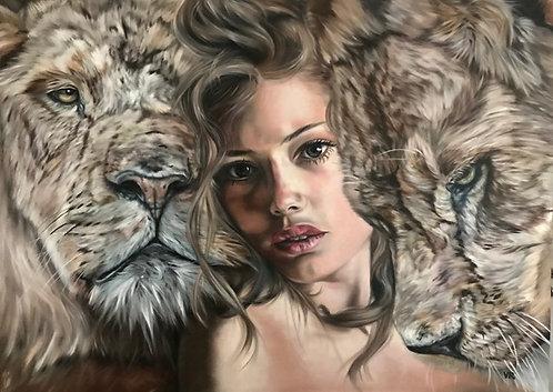 Königin der Löwen    Öl auf Leinwand   100 x 140 cm