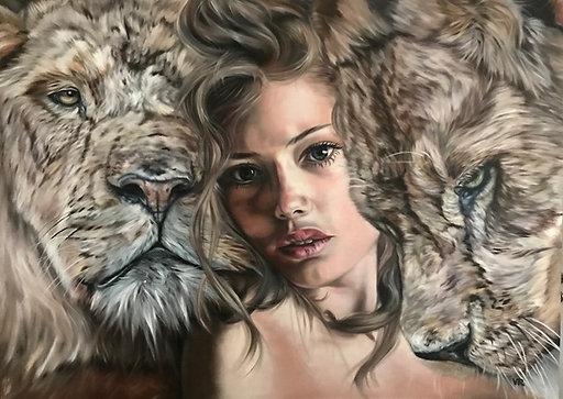 Königin der Löwen |  Öl auf Leinwand | 100 x 140 cm