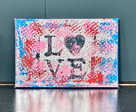 Be my valentine and love it | Acrylic on silver canvas | 30 x 20 cm