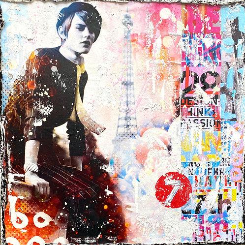 BeTrue2YourselNo5 | Pop-Art- und Collagen-Kunst mit Strukturfarbe | 40 x 40 cm
