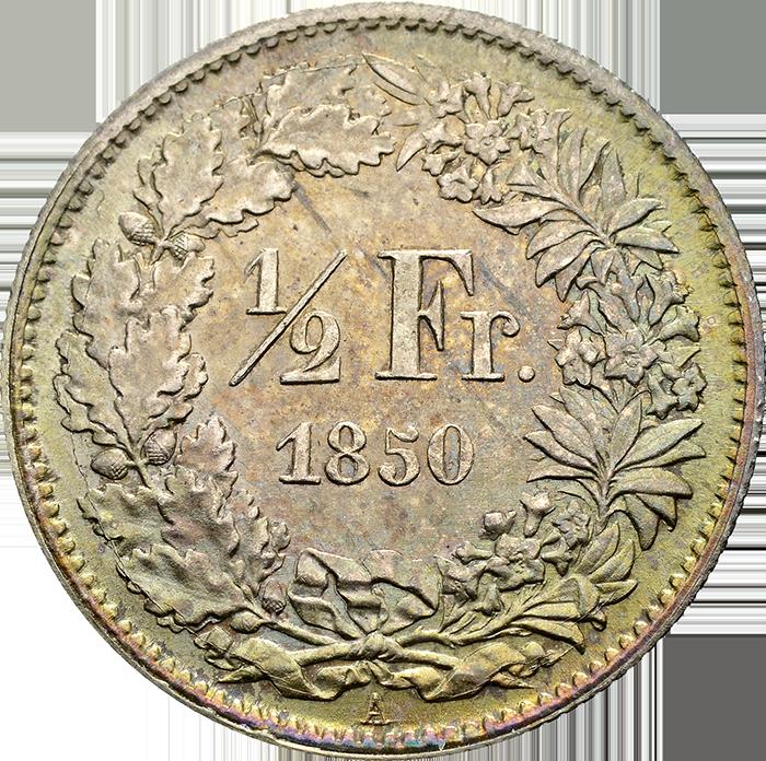 1/2 Franken von 1850