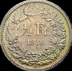 Swiss Confederation. ½ Franc, 1850