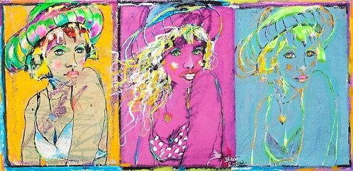 » die Drei « | Pigment, Mischtechnik auf Japanpapier | 22,5 x 46 cm