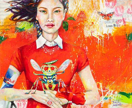 Red Honey | Pigment, Öl, Mischtechnik auf | 90 x 110 cm