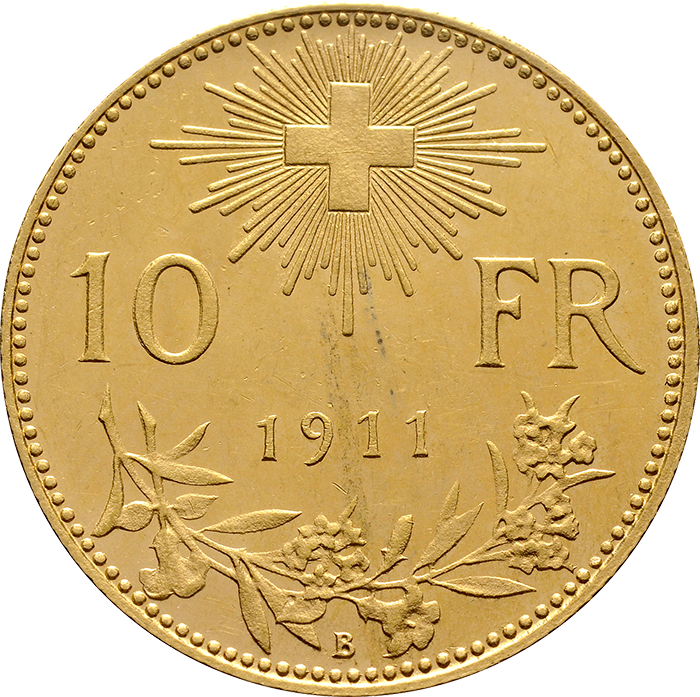 Swiss Confederation. 10 Francs, 1911