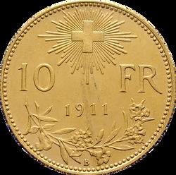 Swiss Confederation. 10 Francs, 1911