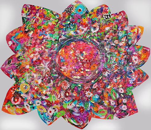 Pinkest Star Flowerfloat | Acryl, 22 Karat Gold | 90 x 111 cm