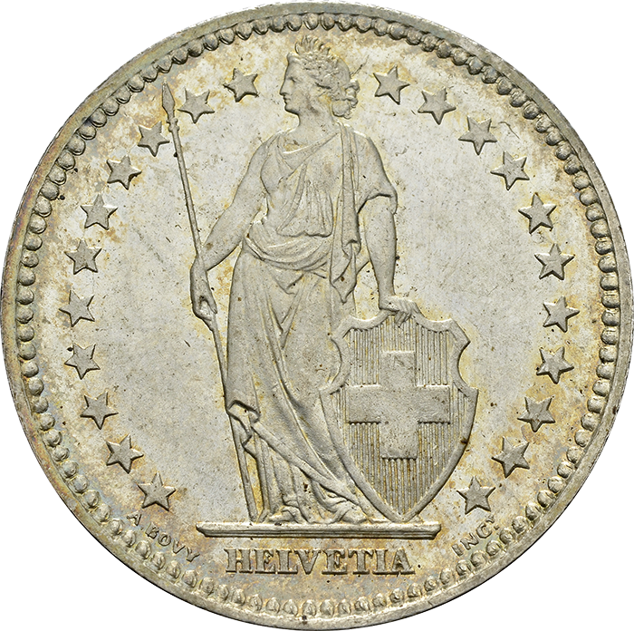 1 Franken 1874, stehende Helvetia
