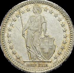 Swiss Confederation. 1 Franc, 1874.