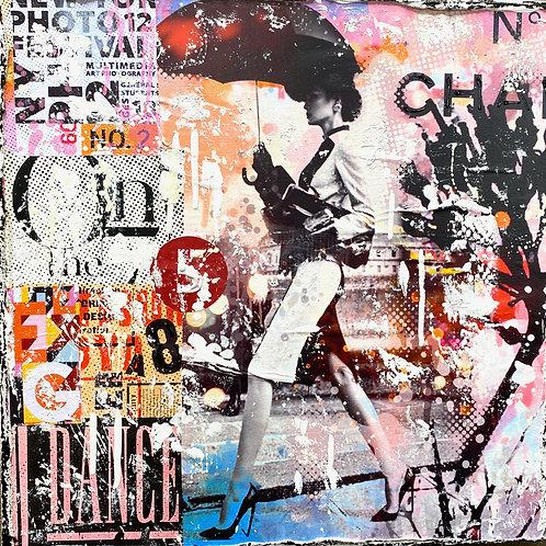 BeTrue2YourselNo4 | Pop-Art- und Collagen-Kunst mit Strukturfarbe | 40 x 40 cm