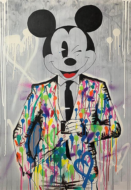 MICKEY GOES OUT   Mixed Media on canvas   100 x 70 cm