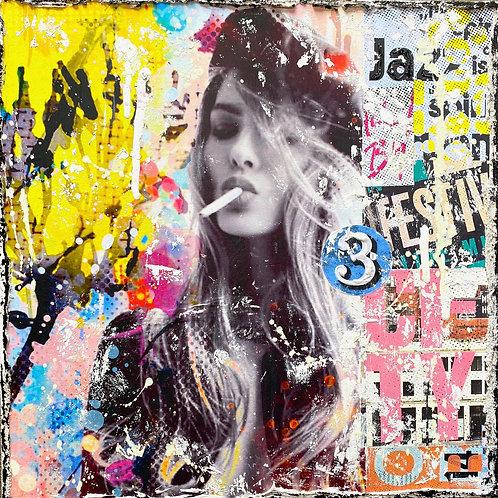 BeTrue2YourselfNo1 | Pop-Art- und Collagen-Kunst mit Strukturfarbe | 40 x 40 cm